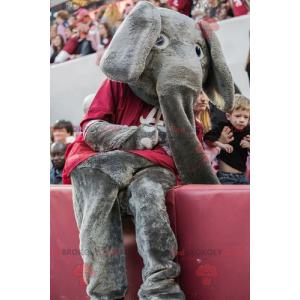 Šedý slon maskot s červeným tričkem - Redbrokoly.com