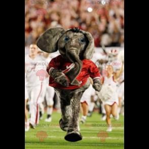 Graues Elefantenmaskottchen mit einem roten T-Shirt -