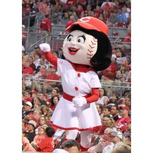 Dívka maskot s hlavou ve tvaru baseballu - Redbrokoly.com