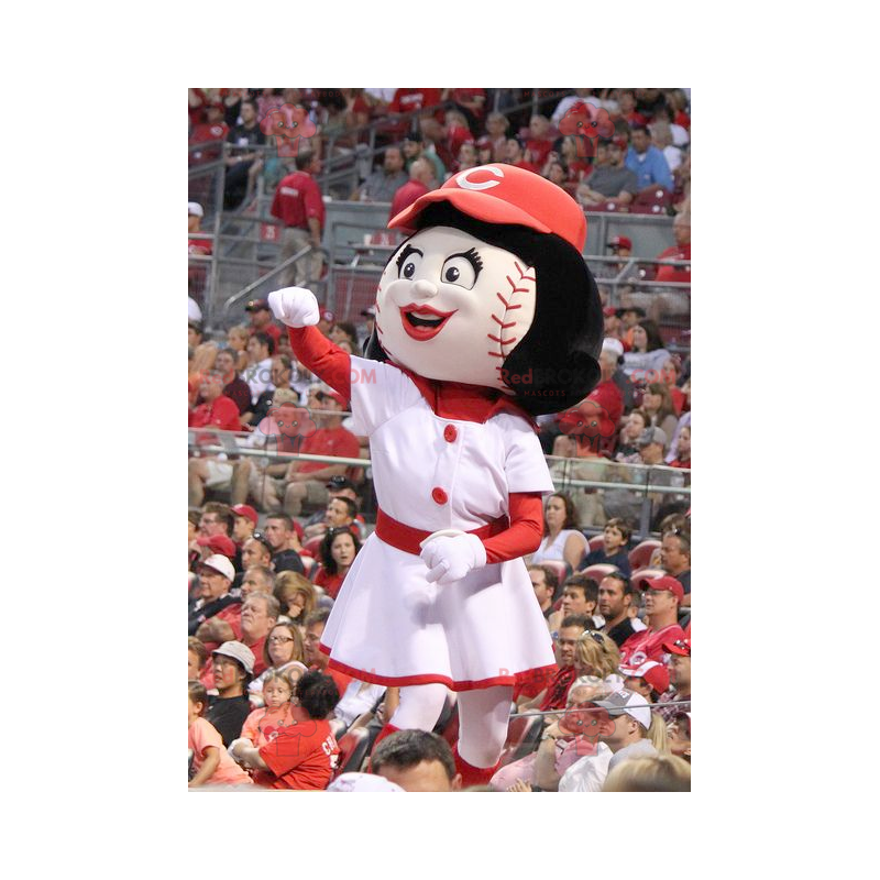 Girl mascot with a head in the shape of a baseball -