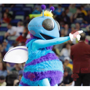 Blue and white flying insect fly mascot - Redbrokoly.com