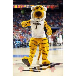 Maskot žlutý bílý a černý tygr - Redbrokoly.com