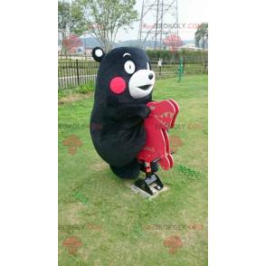 Schwarz-Weiß-Bärenmaskottchen mit roten Wangen - Redbrokoly.com