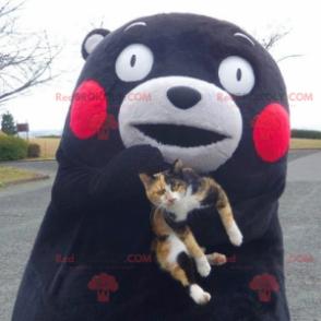 Black and white bear mascot with red cheeks - Redbrokoly.com