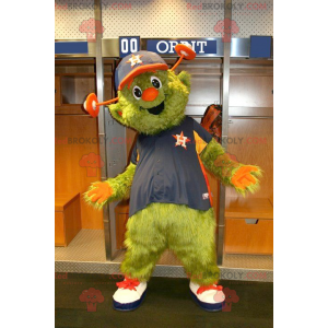 Green and orange monster alien mascot - Redbrokoly.com