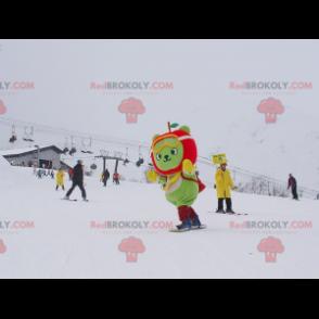 Grünes Bärenmaskottchen mit apfelförmigem Kopf - Redbrokoly.com
