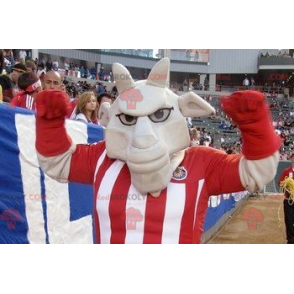 Gray buffalo mascot in sportswear - Redbrokoly.com