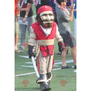 Červený a béžový pirát maskot - Redbrokoly.com