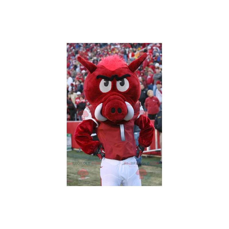 Red and white wild boar mascot - Redbrokoly.com