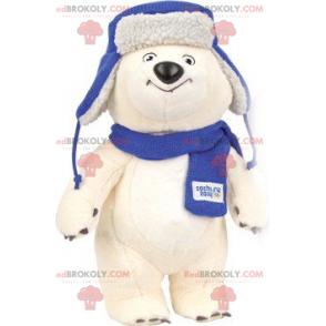Polar bear mascot with a scarf and a hat - Redbrokoly.com