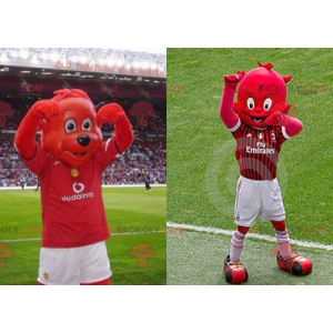 2 Maskottchen: ein roter Bär und ein roter Kobold -