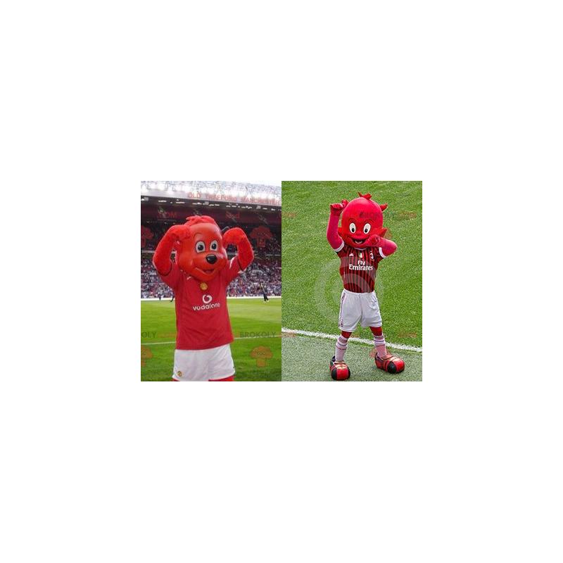 2 maskoti: červený medvěd a červený skřet - Redbrokoly.com