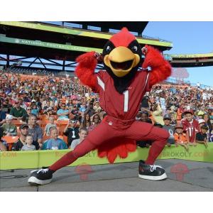 Maskot červený černý a žlutý pták - Redbrokoly.com