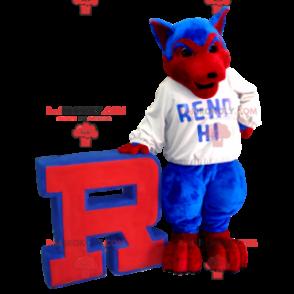 Blaues und rotes Wolfshundemaskottchen - Redbrokoly.com