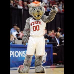 Šedý vlk maskot ve sportovním oblečení - Redbrokoly.com