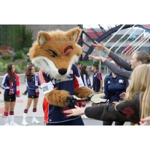 Fuchsmaskottchen in Sportbekleidung - Redbrokoly.com