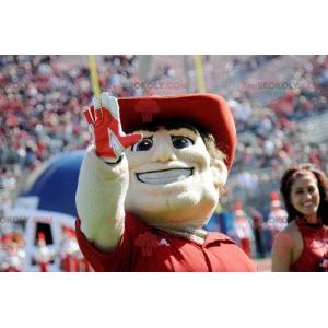 Maskotka mężczyzna w koszulce polo i czerwonym kapeluszu -
