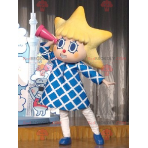 Liten jente maskot med hodet i form av en stjerne -