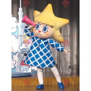 Little girl mascot with the head in the shape of a star -