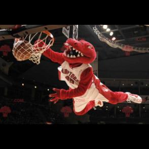 Rotes Dinosaurier-Maskottchen in der Sportbekleidung -