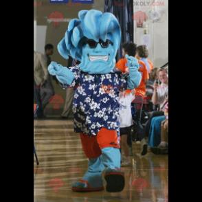 Wave vacationer blue snowman mascot - Redbrokoly.com