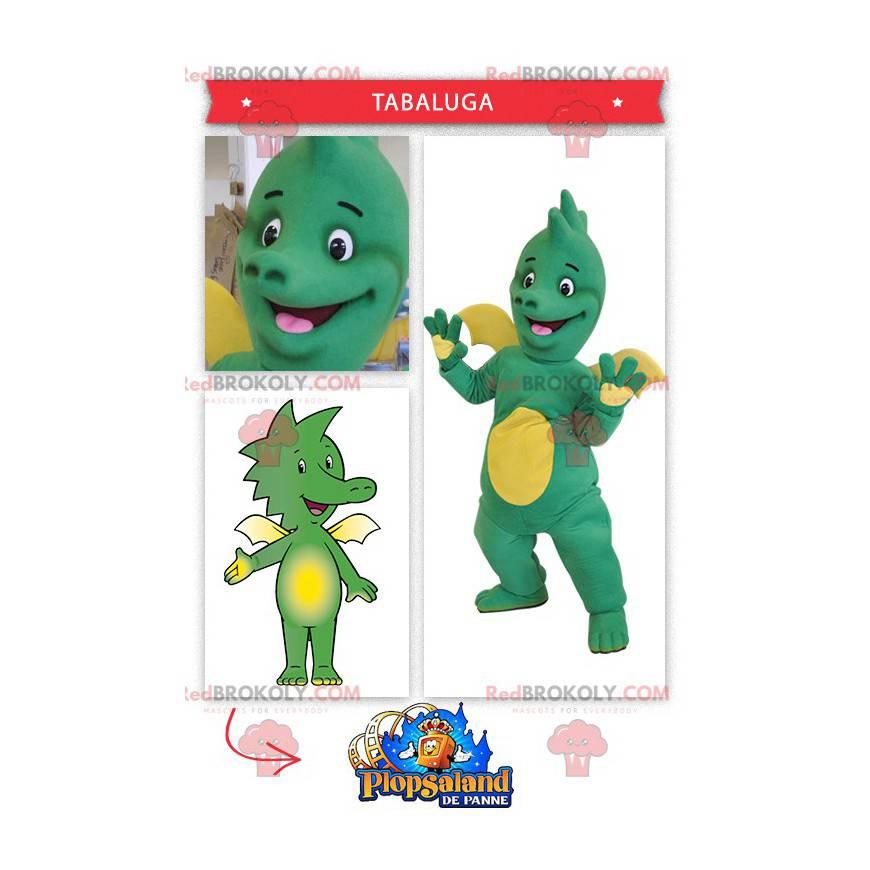 Baby grünes und gelbes Drachenmaskottchen - Redbrokoly.com