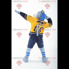 Maskot modrý bílý a žlutý tygr - Redbrokoly.com