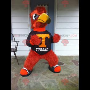 All hairy red and yellow bird mascot - Redbrokoly.com