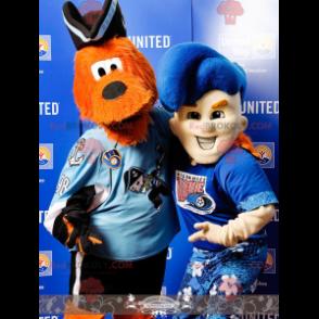 2 maskoti: oranžový pes a chlapec na dovolené - Redbrokoly.com