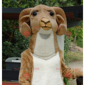 Brown and white ram goat mascot - Redbrokoly.com