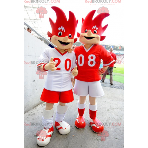 2 red and white euro 2008 mascots - Trix and Flix -
