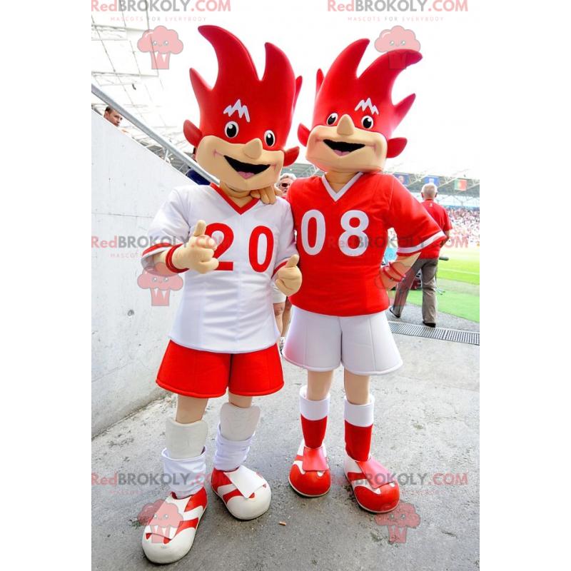 2 červené a bílé maskoty euro 2008 - Trix a Flix -