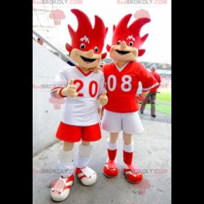 2 rote und weiße Euro 2008 Maskottchen - Trix und Flix -