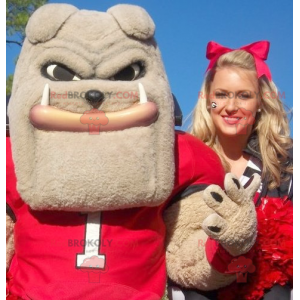 Zeer gespierde beige bulldog-mascotte - Redbrokoly.com