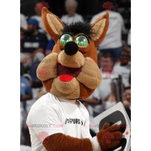 Bruine wolf mascotte met groene ogen - Redbrokoly.com