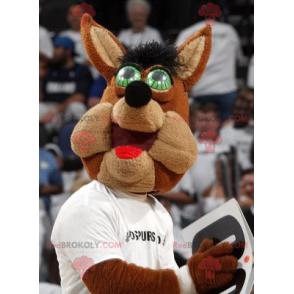 Brown Wolf Maskottchen mit grünen Augen - Redbrokoly.com