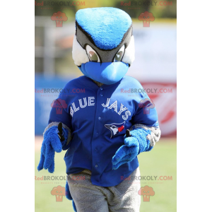 Mascota del pájaro arrendajo azul blanco y negro -