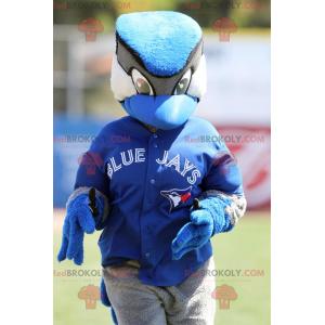 Zwart-wit blauwe gaai vogel mascotte - Redbrokoly.com