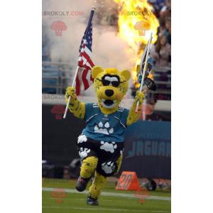 Mascot gele witte en zwarte tijger met zonnebril -