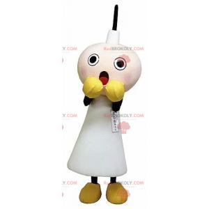 Mascote de vela branca assustado - Redbrokoly.com