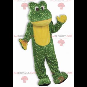 Zelená a žlutá žába maskot s tečkami - Redbrokoly.com