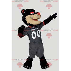 Black beige and red cat mascot - Redbrokoly.com