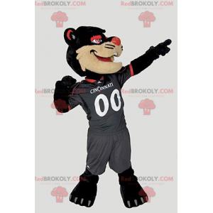 Mascote gato preto bege e vermelho - Redbrokoly.com