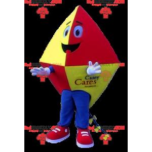 Mascotte rood geel en blauw vlieger - Redbrokoly.com