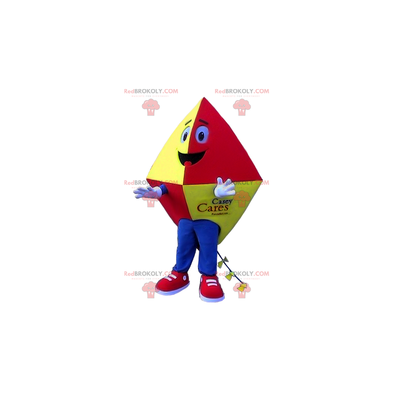 Červený, žlutý a modrý drak maskot - Redbrokoly.com