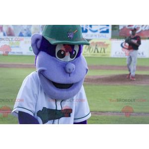 Paarse aap mascotte met een pet - Redbrokoly.com