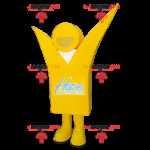 Usmívající se maskot žlutý sněhulák - Redbrokoly.com