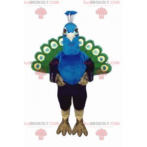 Zelený a modrý Páv maskot - Redbrokoly.com