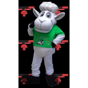 Hvid fårmaskot med en grøn t-shirt - Redbrokoly.com