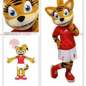 Orange Tabby-Katzenmaskottchen im Cheerleader-Outfit -